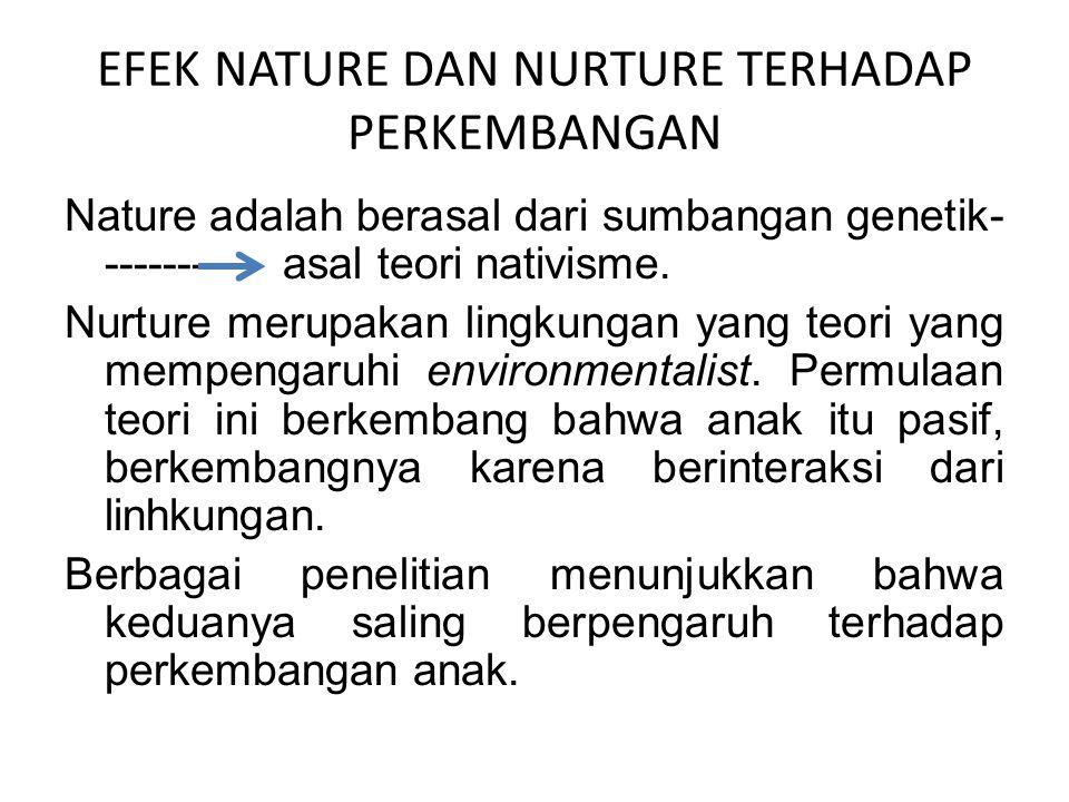 EFEK NATURE DAN NURTURE TERHADAP PERKEMBANGAN Nature adalah berasal dari sumbangan genetik- ------- asal teori nativisme. Nurture merupakan lingkungan