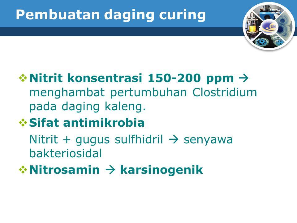 Pembuatan daging curing  Nitrit konsentrasi 150-200 ppm  menghambat pertumbuhan Clostridium pada daging kaleng.