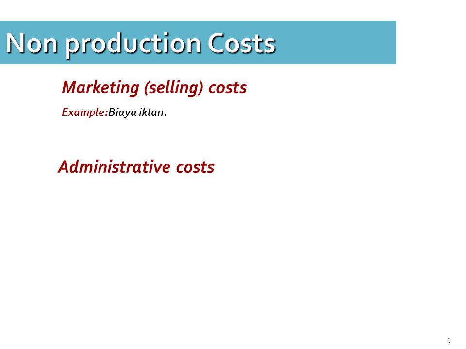 10 Non production Costs Pada Lap Keuangan, biaya marketing & biaya administrasi tdk termasuk dlm persediaan.