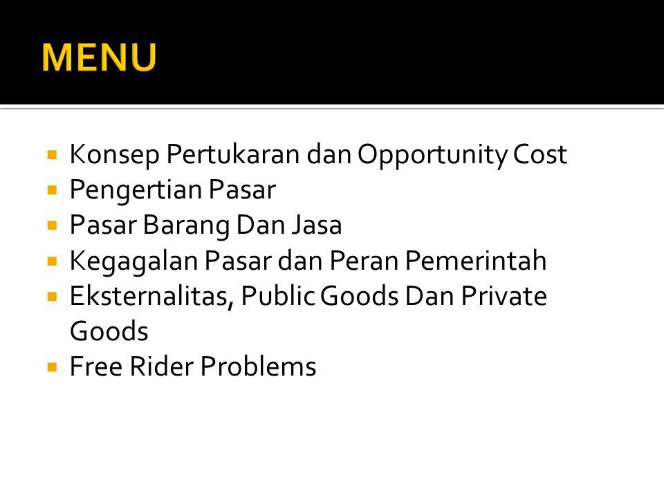  Masyarakat tidak bisa dicegah untuk menikmati layanan penyediaan barang publik.