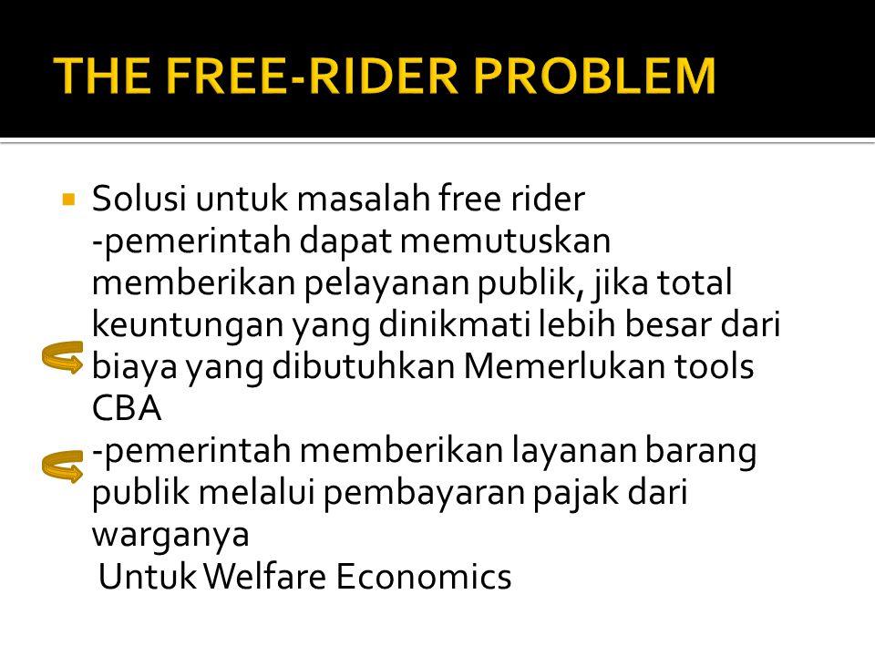  Solusi untuk masalah free rider -pemerintah dapat memutuskan memberikan pelayanan publik, jika total keuntungan yang dinikmati lebih besar dari biay