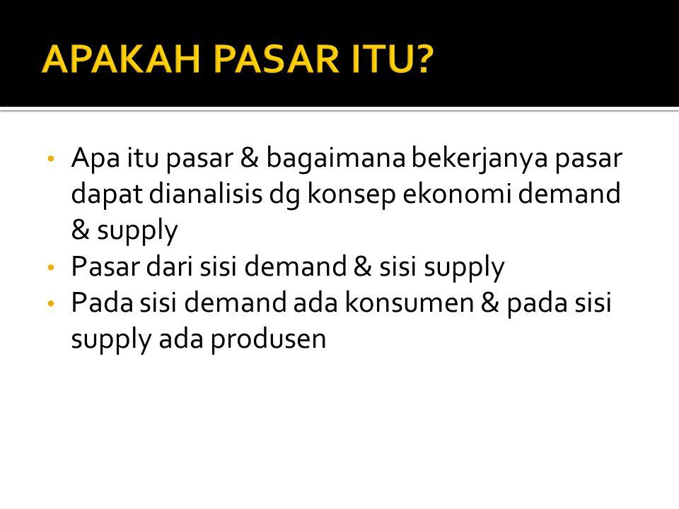 Apa itu pasar & bagaimana bekerjanya pasar dapat dianalisis dg konsep ekonomi demand & supply Pasar dari sisi demand & sisi supply Pada sisi demand ad