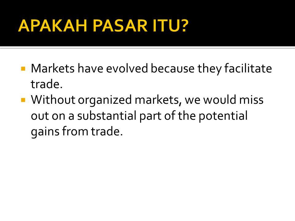  Di dalam Pasar, terjadi pertukaran barang dan jasa menggunakan alat tukar yang disepakati.