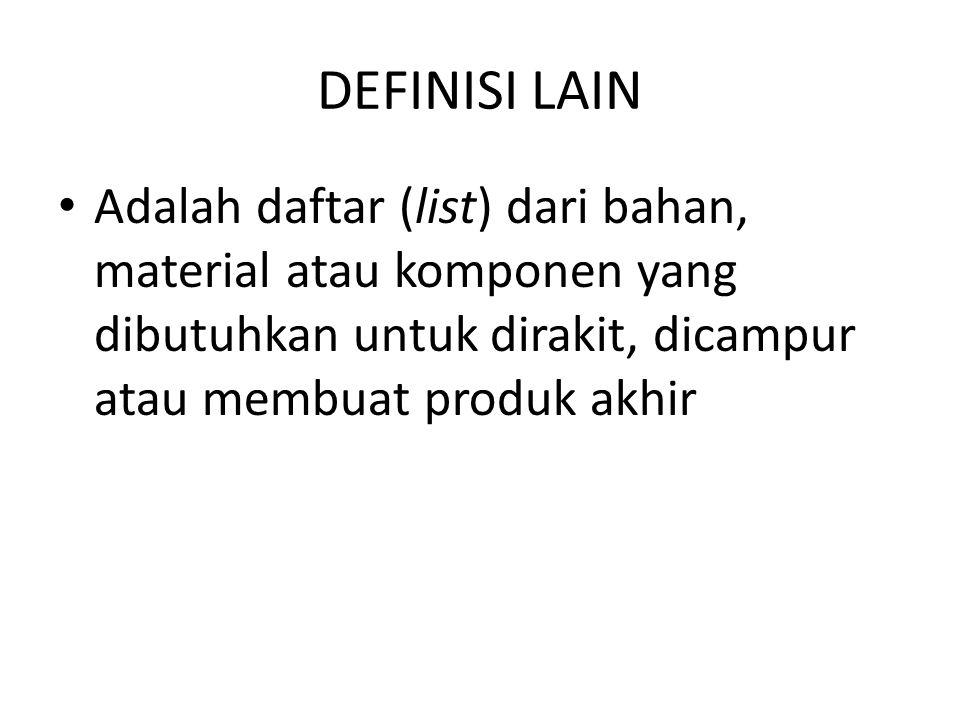 DEFINISI LAIN Adalah daftar (list) dari bahan, material atau komponen yang dibutuhkan untuk dirakit, dicampur atau membuat produk akhir