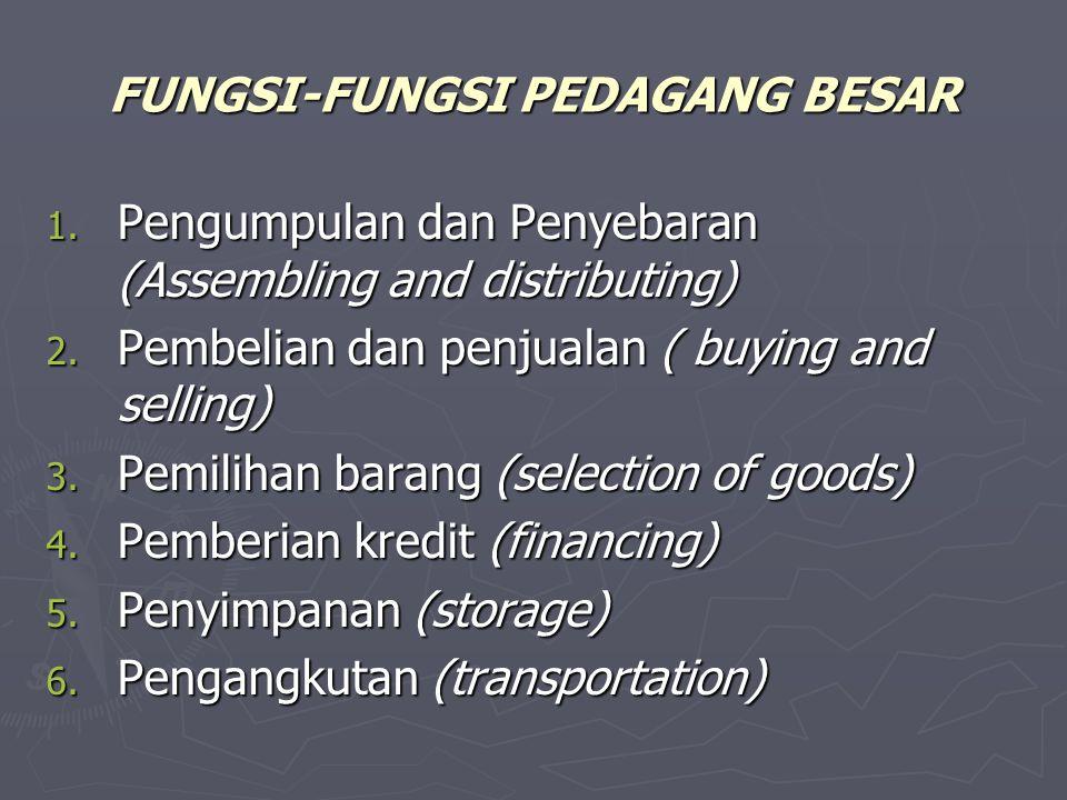 FUNGSI-FUNGSI PEDAGANG BESAR 1. Pengumpulan dan Penyebaran (Assembling and distributing) 2. Pembelian dan penjualan ( buying and selling) 3. Pemilihan