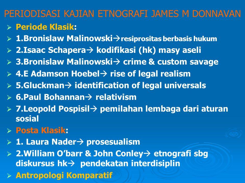 """PERIODISASI KAJIAN ETNOGRAFI JAMES M DONNAVAN   Beranjak dari kritik teori """"hukum Alam""""/Natural Law   Plato (428-348 SM)  pleasure & pain   Ari"""