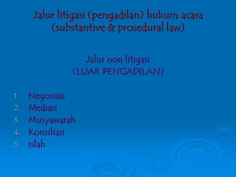 penyelesaian sengketa (conflict resolution) DUA MODEL PENYELESAIAN SENGKETA (1)litigasipengadilan (In court settlement) (2) Non litigasi Di luar penga