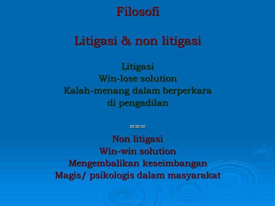PENYELESAIAN SENGKETA (Dispute settlement) 1. NEGOSIASI (Negosiation 2. Mediasi (mediation) 3. Penghindaran (Avoidance) 4. Membiarkan (Lumping it) 5.