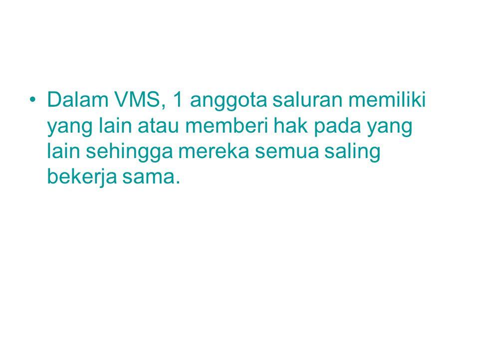 Dalam VMS, 1 anggota saluran memiliki yang lain atau memberi hak pada yang lain sehingga mereka semua saling bekerja sama.
