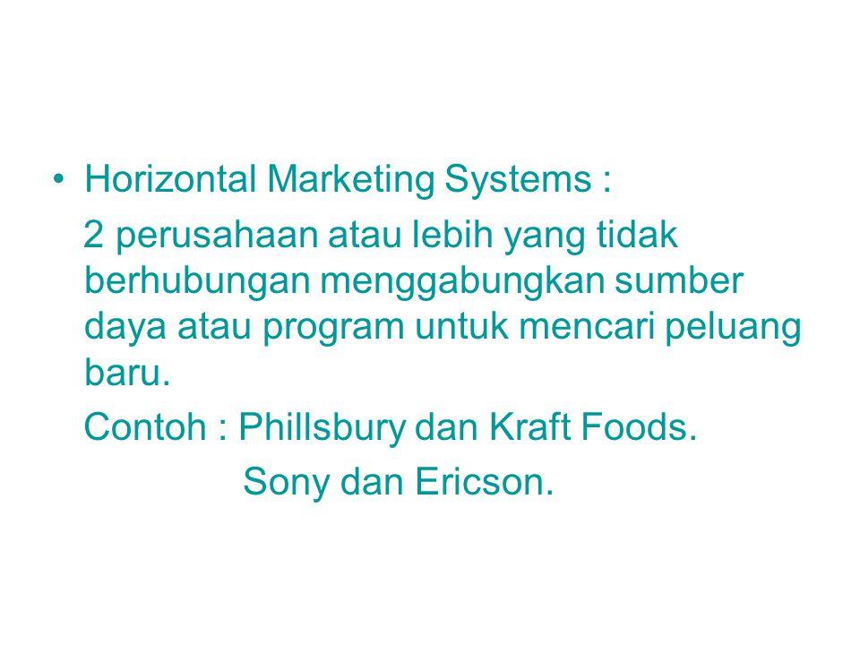 Horizontal Marketing Systems : 2 perusahaan atau lebih yang tidak berhubungan menggabungkan sumber daya atau program untuk mencari peluang baru. Conto