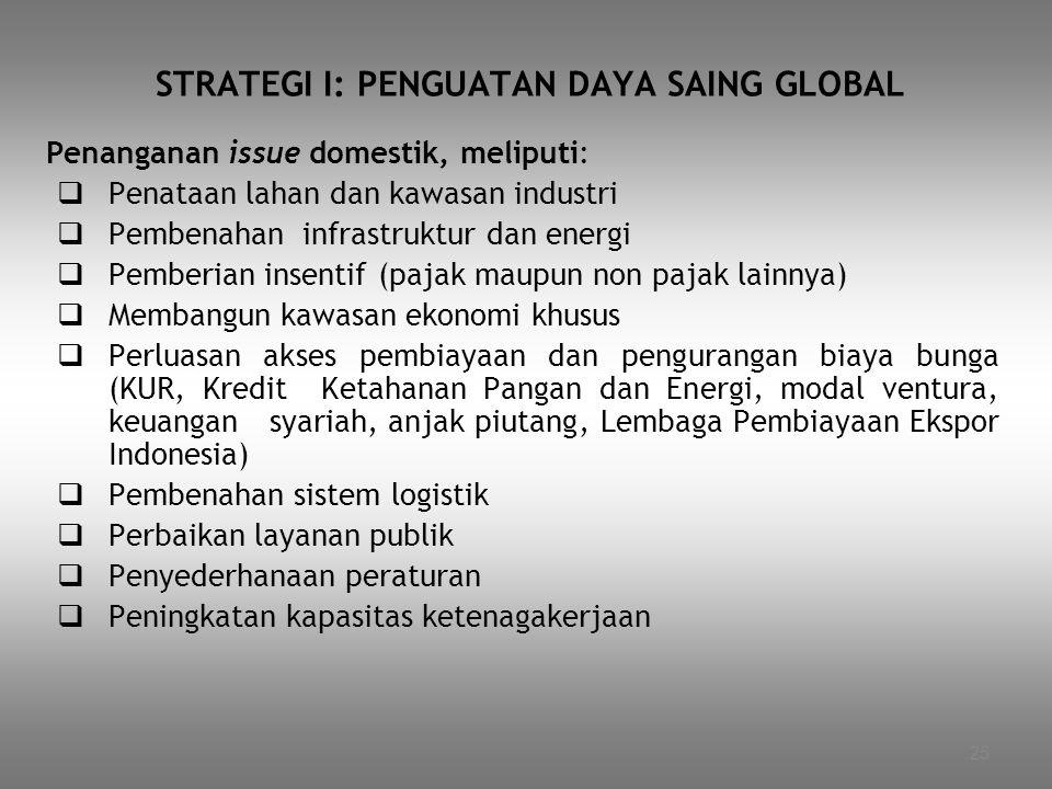 25 STRATEGI I: PENGUATAN DAYA SAING GLOBAL Penanganan issue domestik, meliputi:  Penataan lahan dan kawasan industri  Pembenahan infrastruktur dan e