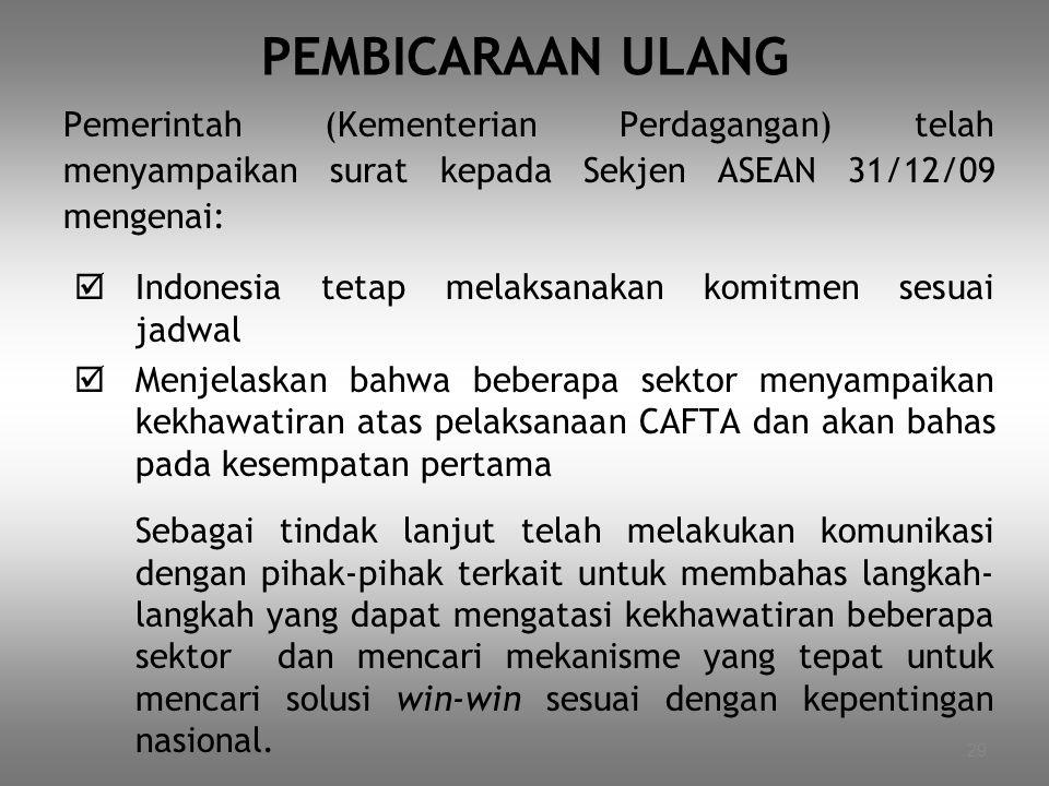 29 PEMBICARAAN ULANG Pemerintah (Kementerian Perdagangan) telah menyampaikan surat kepada Sekjen ASEAN 31/12/09 mengenai:  Indonesia tetap melaksanak