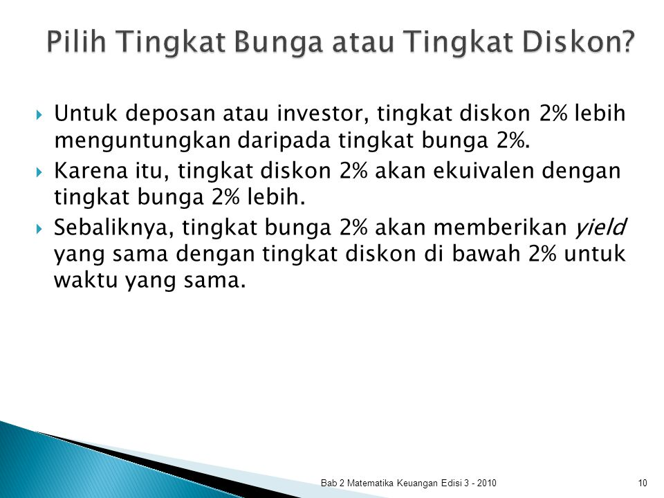  Untuk deposan atau investor, tingkat diskon 2% lebih menguntungkan daripada tingkat bunga 2%.  Karena itu, tingkat diskon 2% akan ekuivalen dengan
