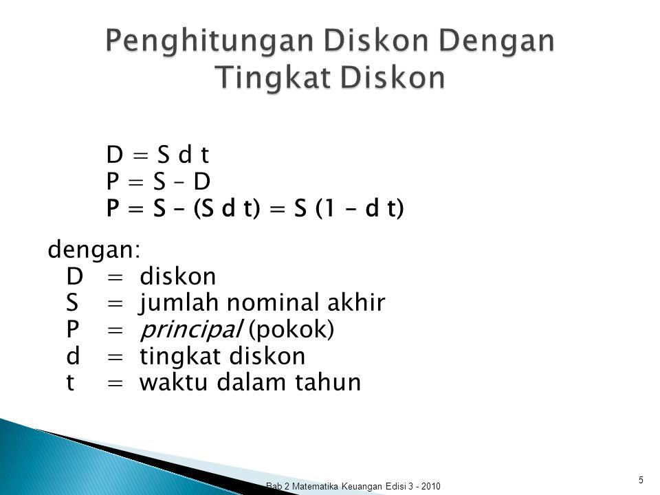 D = S d t P = S – D P = S – (S d t) = S (1 – d t) dengan: D= diskon S= jumlah nominal akhir P= principal (pokok) d= tingkat diskon t= waktu dalam tahu