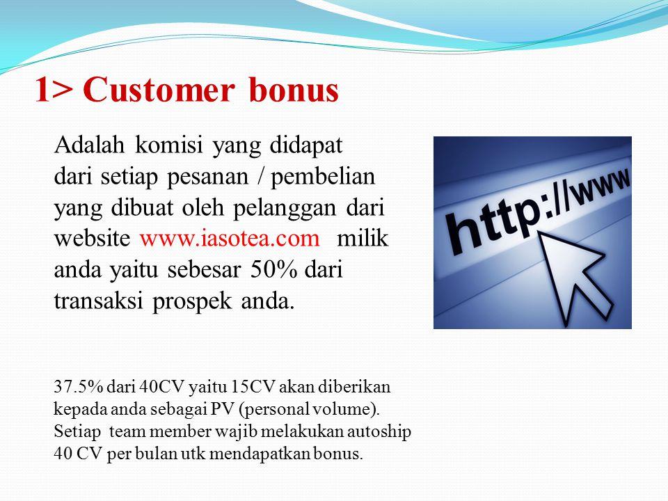 1> Customer bonus Adalah komisi yang didapat dari setiap pesanan / pembelian yang dibuat oleh pelanggan dari website www.iasotea.com milik anda yaitu sebesar 50% dari transaksi prospek anda.