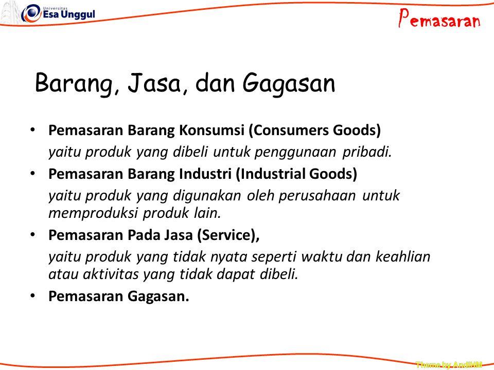 Barang, Jasa, dan Gagasan Pemasaran Barang Konsumsi (Consumers Goods) yaitu produk yang dibeli untuk penggunaan pribadi. Pemasaran Barang Industri (In