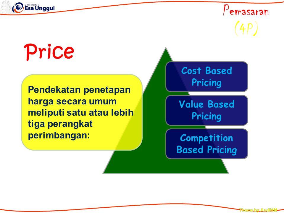 Cost Based Pricing Value Based Pricing Competition Based Pricing Price Pemasaran (4P) Pendekatan penetapan harga secara umum meliputi satu atau lebih