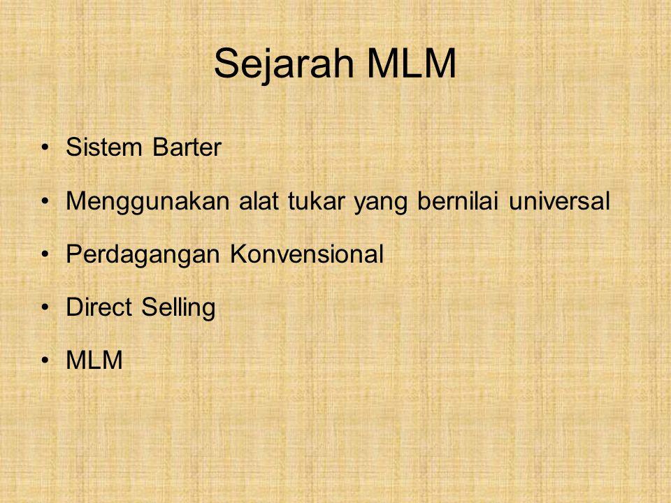 Sejarah MLM Sistem Barter Menggunakan alat tukar yang bernilai universal Perdagangan Konvensional Direct Selling MLM
