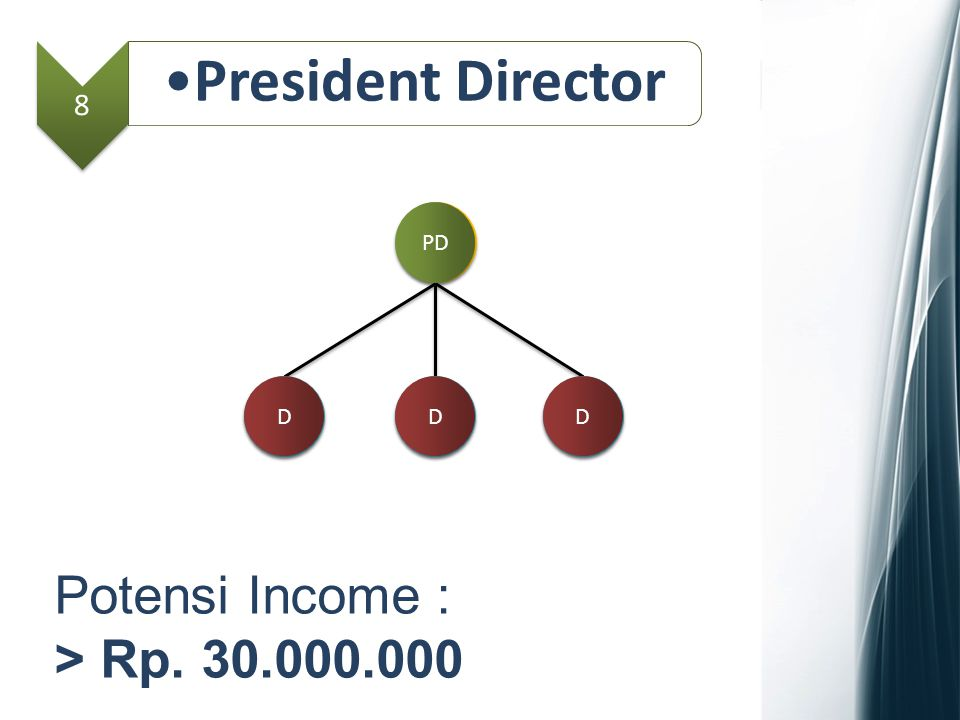 8 President Director MD Potensi Income : > Rp. 30.000.000 GM D D D D PD D D