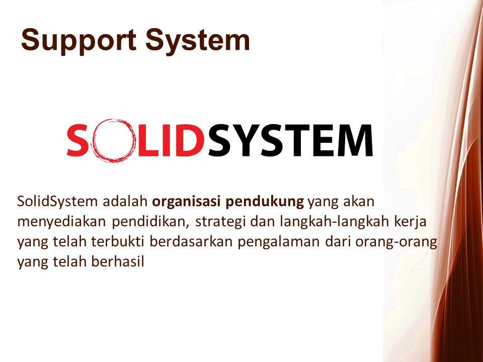 Support System SolidSystem adalah organisasi pendukung yang akan menyediakan pendidikan, strategi dan langkah-langkah kerja yang telah terbukti berdas