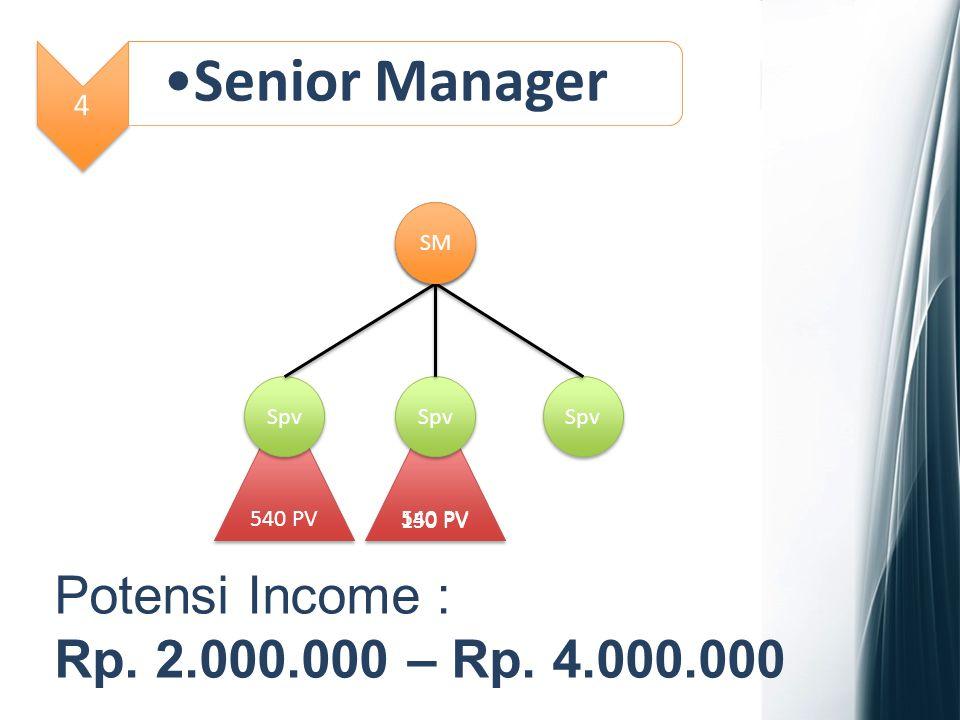 5 General Manager Spv 540 PV SM 540 PV GM Potensi Income : Rp. 4.000.000 – Rp. 10.000.000