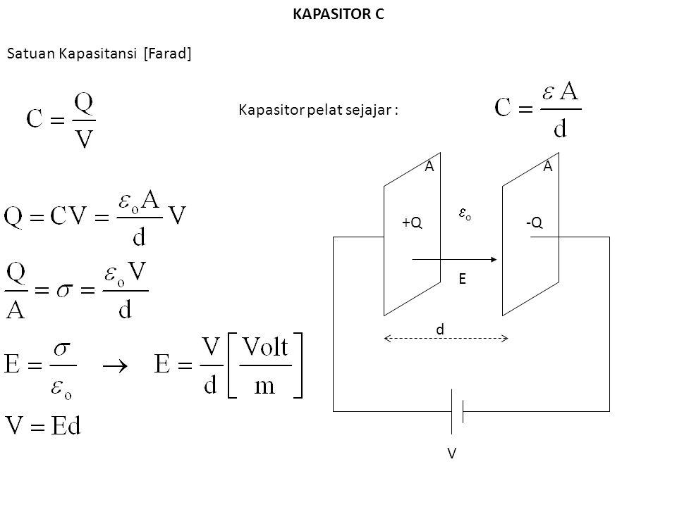 KAPASITOR C Satuan Kapasitansi [Farad] +Q-Q Kapasitor pelat sejajar : d AA oo V E
