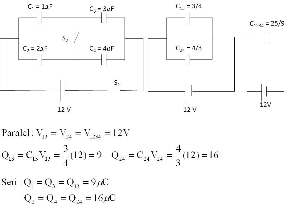 C 1 = 1  F C 2 = 2  F C 3 = 3  F C 4 = 4  F S1S1 S2S2 12 V C 13 = 3/4 C 24 = 4/3 12 V C 1234 = 25/9