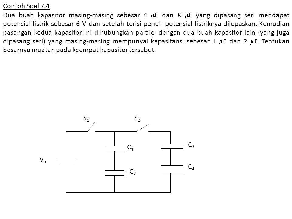 Contoh Soal 7.4 Dua buah kapasitor masing-masing sebesar 4  F dan 8  F yang dipasang seri mendapat potensial listrik sebesar 6 V dan setelah terisi
