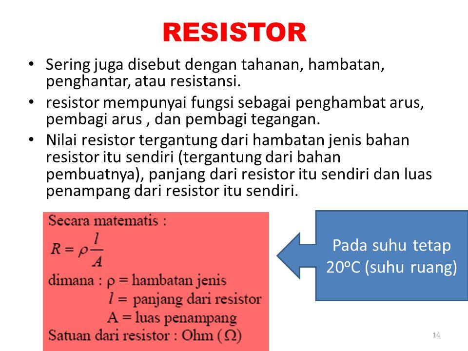 RESISTOR Sering juga disebut dengan tahanan, hambatan, penghantar, atau resistansi. resistor mempunyai fungsi sebagai penghambat arus, pembagi arus, d