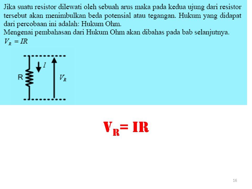V R = IR 16
