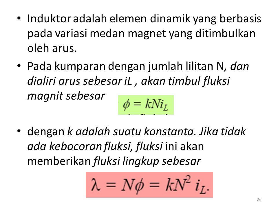 Induktor adalah elemen dinamik yang berbasis pada variasi medan magnet yang ditimbulkan oleh arus. Pada kumparan dengan jumlah lilitan N, dan dialiri