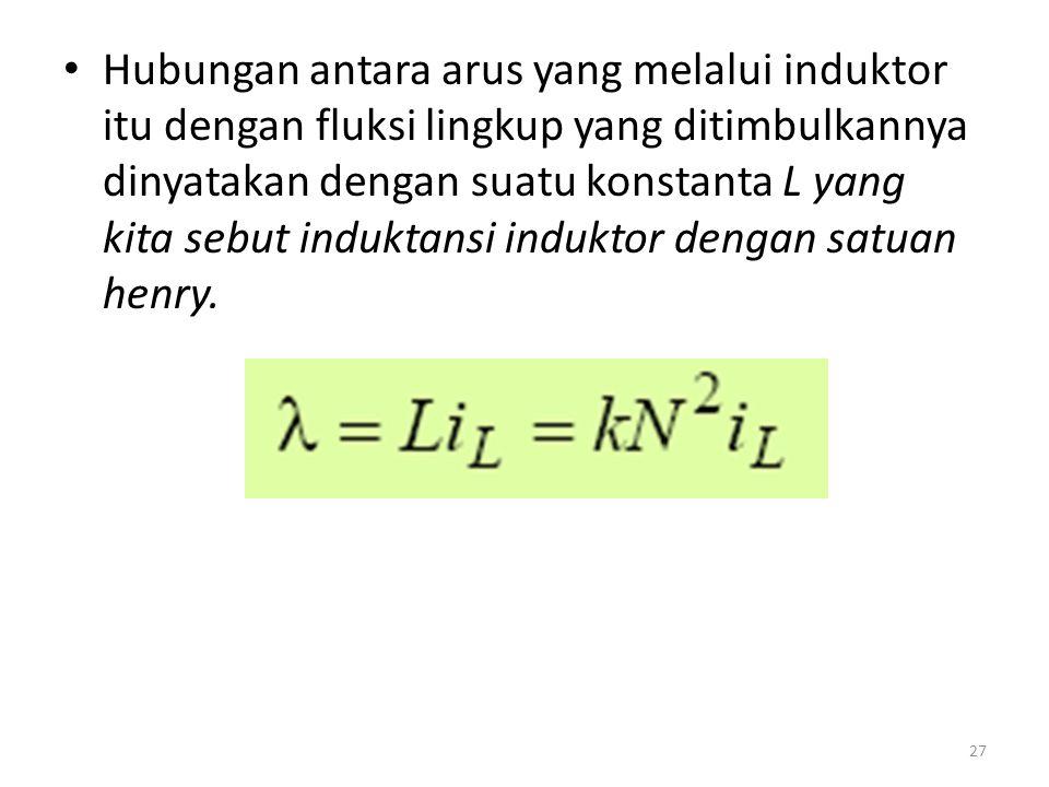 Hubungan antara arus yang melalui induktor itu dengan fluksi lingkup yang ditimbulkannya dinyatakan dengan suatu konstanta L yang kita sebut induktans
