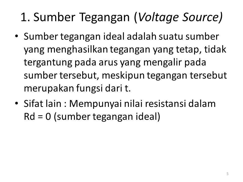 1. Sumber Tegangan (Voltage Source) Sumber tegangan ideal adalah suatu sumber yang menghasilkan tegangan yang tetap, tidak tergantung pada arus yang m