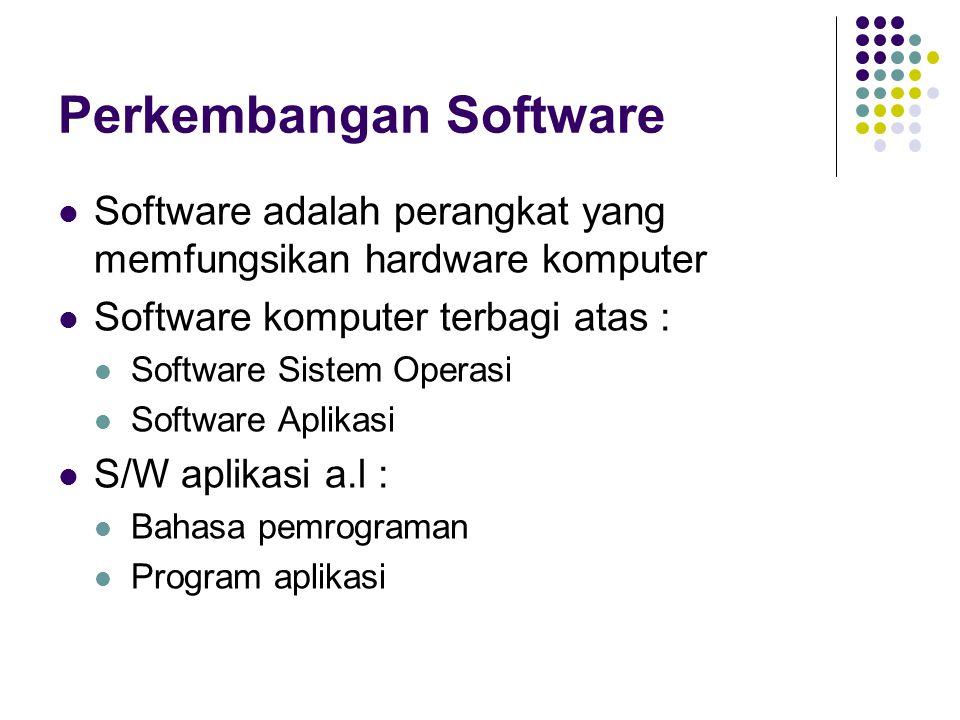 Perkembangan Software Software adalah perangkat yang memfungsikan hardware komputer Software komputer terbagi atas : Software Sistem Operasi Software
