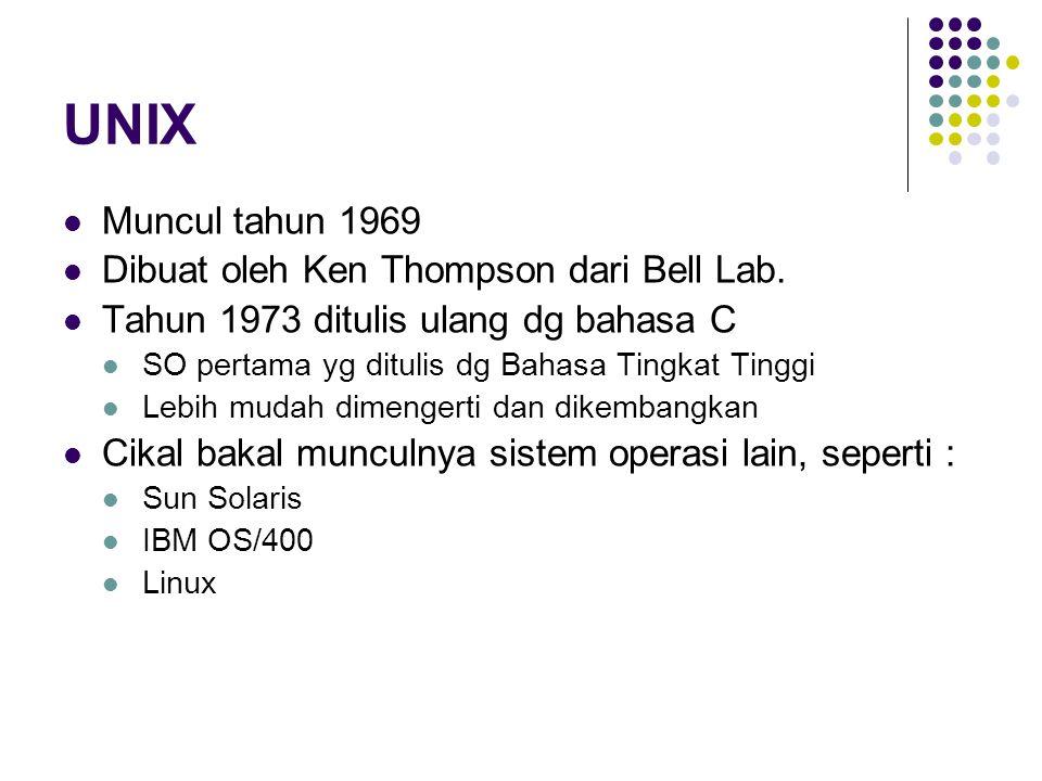 UNIX Muncul tahun 1969 Dibuat oleh Ken Thompson dari Bell Lab. Tahun 1973 ditulis ulang dg bahasa C SO pertama yg ditulis dg Bahasa Tingkat Tinggi Leb