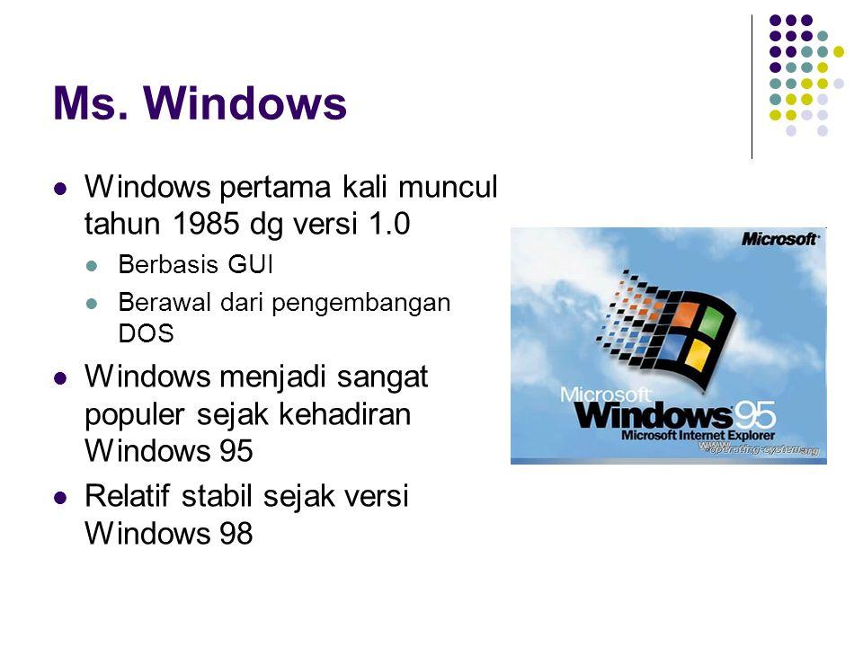 Ms. Windows Windows pertama kali muncul tahun 1985 dg versi 1.0 Berbasis GUI Berawal dari pengembangan DOS Windows menjadi sangat populer sejak kehadi