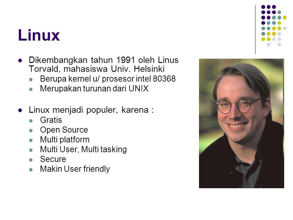 Linux Dikembangkan tahun 1991 oleh Linus Torvald, mahasiswa Univ. Helsinki Berupa kernel u/ prosesor intel 80368 Merupakan turunan dari UNIX Linux men