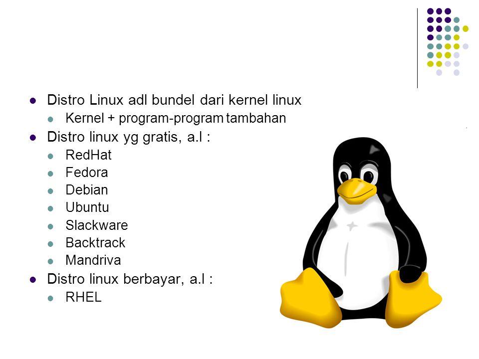 Distro Linux adl bundel dari kernel linux Kernel + program-program tambahan Distro linux yg gratis, a.l : RedHat Fedora Debian Ubuntu Slackware Backtr