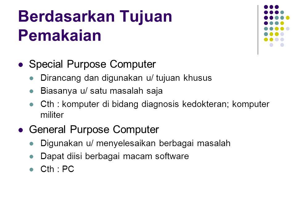 Berdasarkan Tujuan Pemakaian Special Purpose Computer Dirancang dan digunakan u/ tujuan khusus Biasanya u/ satu masalah saja Cth : komputer di bidang