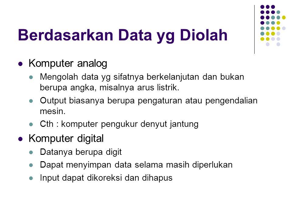 Berdasarkan Data yg Diolah Komputer analog Mengolah data yg sifatnya berkelanjutan dan bukan berupa angka, misalnya arus listrik. Output biasanya beru