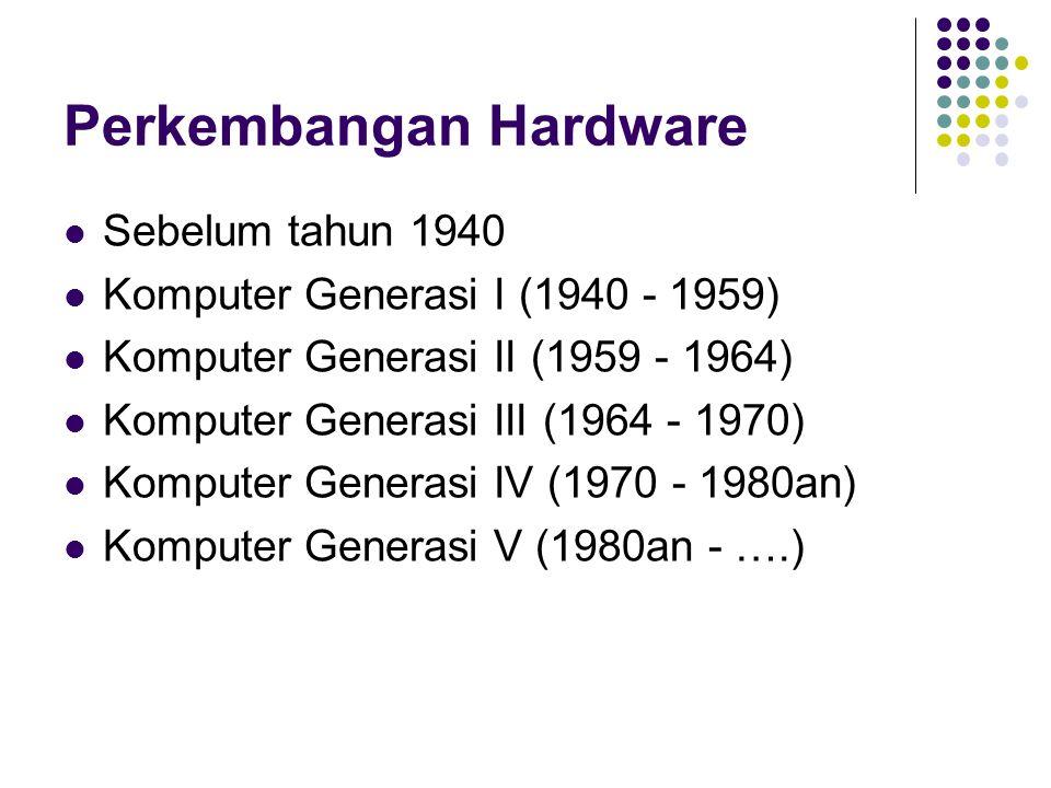 Perkembangan Hardware Sebelum tahun 1940 Komputer Generasi I (1940 - 1959) Komputer Generasi II (1959 - 1964) Komputer Generasi III (1964 - 1970) Komp