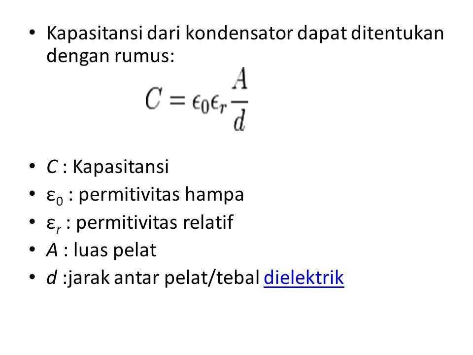 Kapasitansi dari kondensator dapat ditentukan dengan rumus: C : Kapasitansi ε 0 : permitivitas hampa ε r : permitivitas relatif A : luas pelat d :jarak antar pelat/tebal dielektrikdielektrik