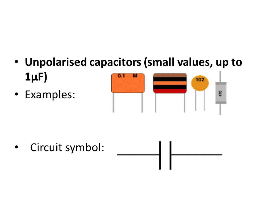 Unpolarised capacitors (small values, up to 1µF) Examples: Circuit symbol: