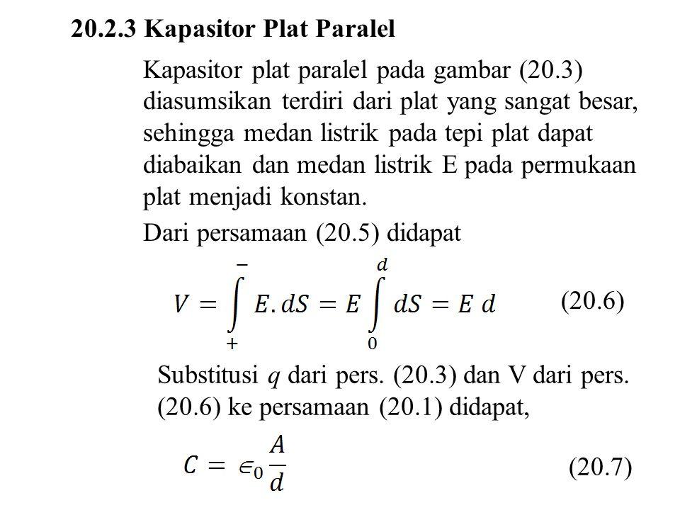 20.2.3 Kapasitor Plat Paralel Kapasitor plat paralel pada gambar (20.3) diasumsikan terdiri dari plat yang sangat besar, sehingga medan listrik pada tepi plat dapat diabaikan dan medan listrik E pada permukaan plat menjadi konstan.