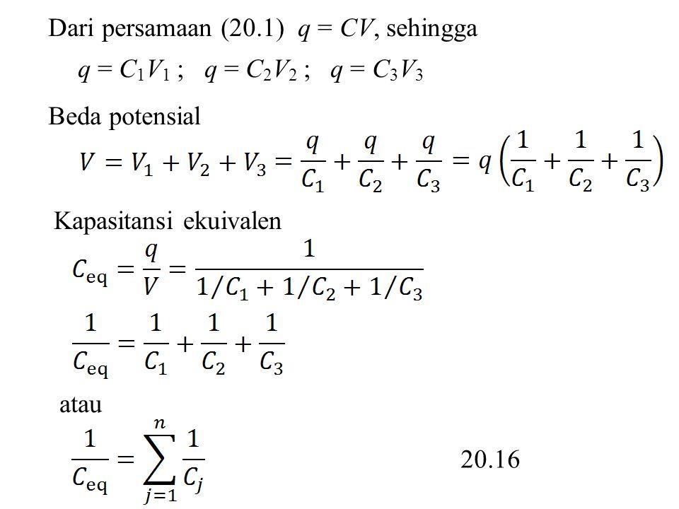 Dari persamaan (20.1) q = CV, sehingga q = C 1 V 1 ; q = C 2 V 2 ; q = C 3 V 3 Beda potensial atau Kapasitansi ekuivalen 20.16