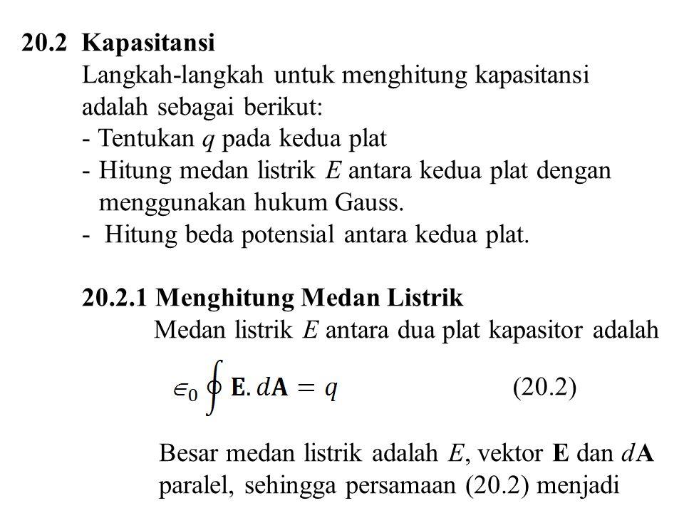 Besar medan listrik adalah E, vektor E dan dA paralel, sehingga persamaan (20.2) menjadi q =  0 E A (20.3) A = penampang plat.