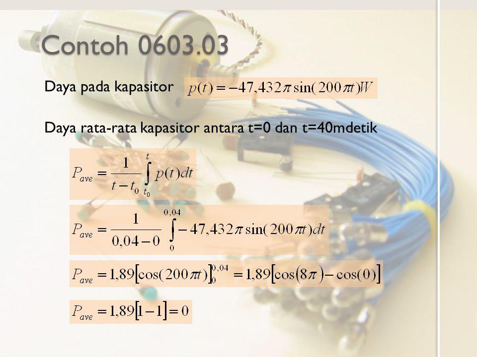 Contoh 0603.03 Daya pada kapasitor Daya rata-rata kapasitor antara t=0 dan t=40mdetik
