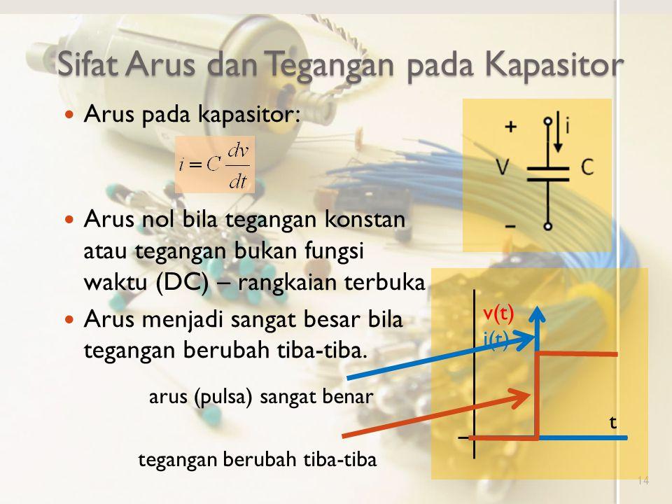 Sifat Arus dan Tegangan pada Kapasitor 14 Arus pada kapasitor: Arus nol bila tegangan konstan atau tegangan bukan fungsi waktu (DC) – rangkaian terbuk
