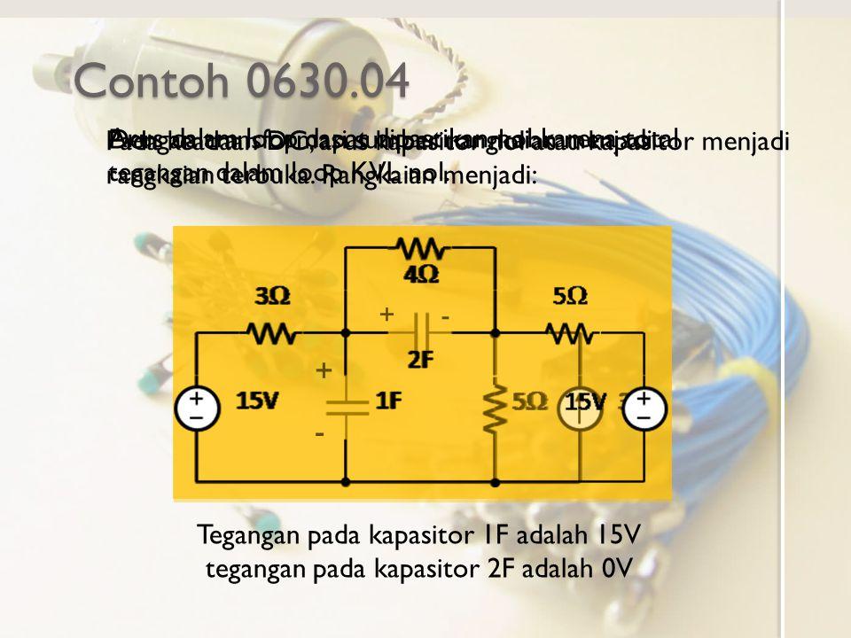 Contoh 0630.04 Pada keadaan DC, arus kapasitor nol atau kapasitor menjadi rangkaian terbuka. Rangkaian menjadi: + - +- Dengan transformasi sumber rang