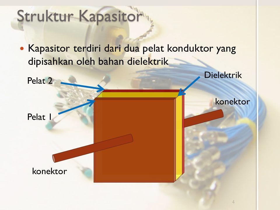 Struktur Kapasitor Kapasitor terdiri dari dua pelat konduktor yang dipisahkan oleh bahan dielektrik 4 Pelat 1 Pelat 2 konektor Dielektrik konektor